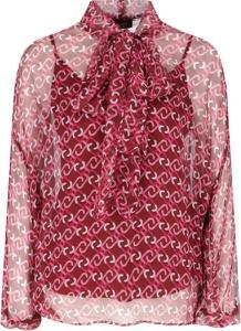 Różowa bluzka Liu-Jo z długim rękawem z jedwabiu