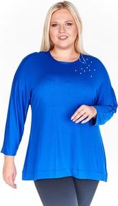 Niebieska bluzka Fokus z długim rękawem w stylu casual