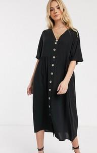 Czarna sukienka Asos z dekoltem w kształcie litery v midi