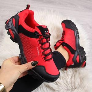 Czerwone buty trekkingowe American Club z płaską podeszwą sznurowane