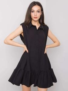 Czarna sukienka Promese mini z bawełny