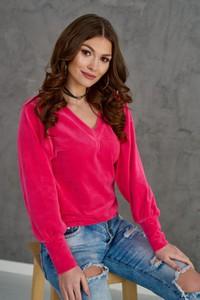 Bluzka Roco Fashion z dekoltem w kształcie litery v z weluru