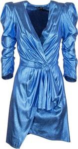 Niebieska sukienka Elisabetta Franchi tulipan z tkaniny z dekoltem w kształcie litery v