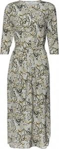 Sukienka PATRIZIA ARYTON z jedwabiu z dekoltem w kształcie litery v z długim rękawem
