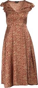 Brązowa sukienka Multu z krótkim rękawem