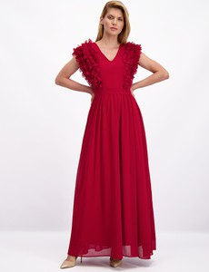 Czerwona sukienka Lavard z tkaniny
