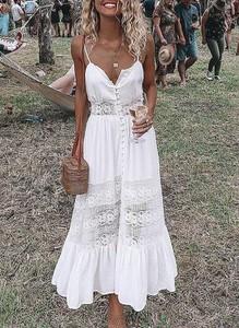 Sukienka Sandbella z dekoltem w kształcie litery v maxi w stylu boho