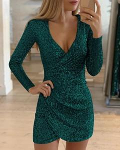 Sukienka Kendallme kopertowa z długim rękawem z dekoltem w kształcie litery v
