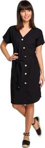 Czarna sukienka Be szmizjerka z tkaniny