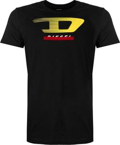 Czarny t-shirt Diesel z bawełny z krótkim rękawem w młodzieżowym stylu