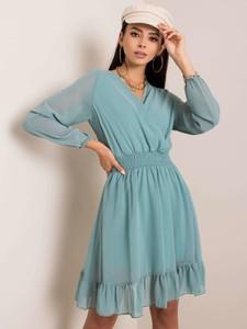 Niebieska sukienka Sheandher.pl z długim rękawem w stylu casual mini