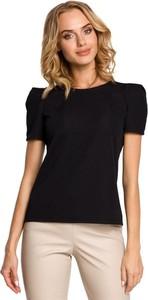 Czarna bluzka Merg z krótkim rękawem