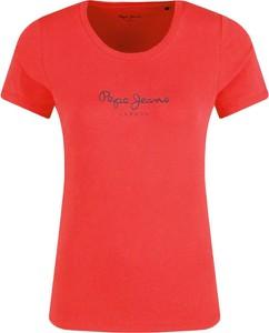 Czerwony t-shirt Pepe Jeans w stylu casual z krótkim rękawem z okrągłym dekoltem