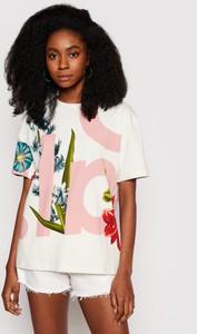 T-shirt Desigual w młodzieżowym stylu z nadrukiem z okrągłym dekoltem