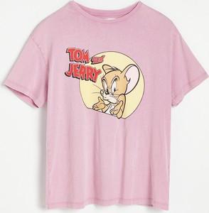 T-shirt Reserved z nadrukiem z krótkim rękawem w młodzieżowym stylu