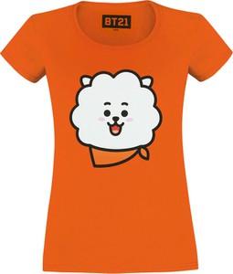 Pomarańczowy t-shirt Emp z nadrukiem z bawełny z krótkim rękawem