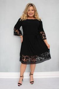 Sukienka KARKO midi hiszpanka z długim rękawem