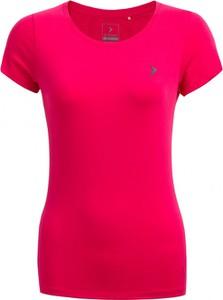 Różowy t-shirt Outhorn w młodzieżowym stylu z krótkim rękawem z bawełny