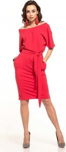 Czerwona sukienka Tessita midi z bawełny z krótkim rękawem