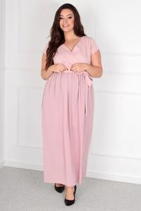 Sukienka KARKO z krótkim rękawem z dekoltem w kształcie litery v w stylu casual