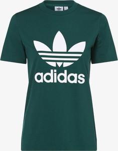 Zielony t-shirt Adidas Originals w młodzieżowym stylu z okrągłym dekoltem