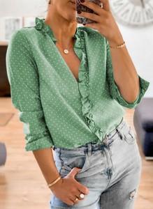 Zielona bluzka Sandbella z dekoltem w kształcie litery v