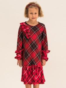 Czerwona sukienka dziewczęca Primigi w krateczkę