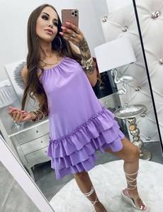 Fioletowa sukienka Lola Bianka na ramiączkach