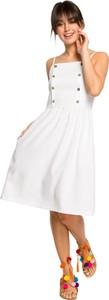 Sukienka Be z tkaniny na ramiączkach midi