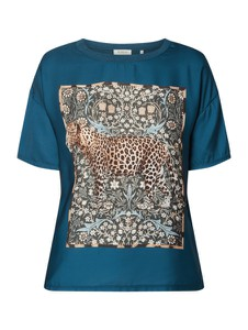 Niebieska bluzka Rich & Royal w stylu casual z satyny z krótkim rękawem