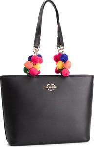 Czarna torebka Love Moschino na ramię z pomponami duża