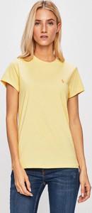 Żółty t-shirt POLO RALPH LAUREN z okrągłym dekoltem z bawełny w stylu casual
