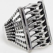 ASOS DESIGN – Pierścionek w srebrnym kolorze z motywem z lat 1920.