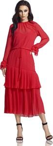 Czerwona sukienka Lemoniade maxi z długim rękawem