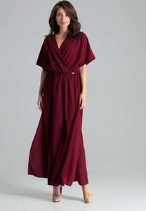 Czerwona sukienka Katrus kopertowa maxi z krótkim rękawem