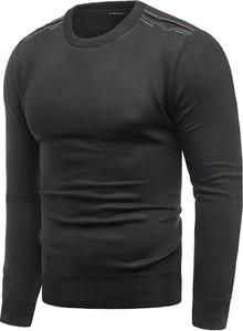 Czarny sweter Risardi z okrągłym dekoltem w stylu casual