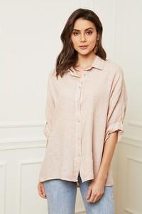 Różowa koszula Fleur De Lin z lnu