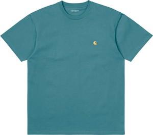 Niebieski t-shirt Carhartt WIP z bawełny w stylu casual z krótkim rękawem