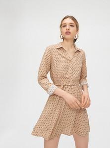 Brązowa sukienka Cropp koszulowa z długim rękawem
