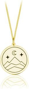 Lian Art Naszyjnik Mountain z medalionem księżyc, góry i gwiazdy - 24k złocenie