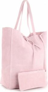 Różowa torebka Vera Pelle duża na ramię