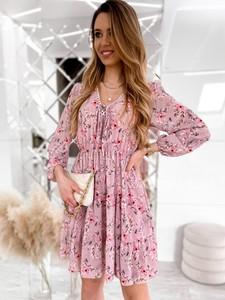 Sukienka Infinityfashion.pl z długim rękawem mini z dekoltem w kształcie litery v