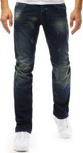 Granatowe jeansy Dstreet z bawełny