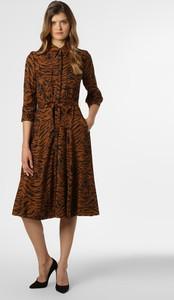 Brązowa sukienka S.Oliver Black Label rozkloszowana midi z długim rękawem