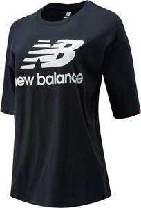 Czarny t-shirt New Balance z bawełny w sportowym stylu z krótkim rękawem