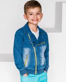 Niebieska kurtka dziecięca Ombre Clothing z jeansu