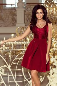 Czerwona sukienka NUMOCO z dekoltem w kształcie litery v midi rozkloszowana