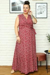 Sukienka KARKO z tkaniny maxi bez rękawów