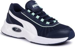 Granatowe buty sportowe Puma sznurowane ze skóry ekologicznej