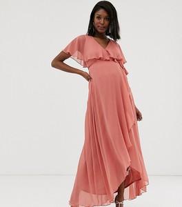 Różowa sukienka Asos z krótkim rękawem